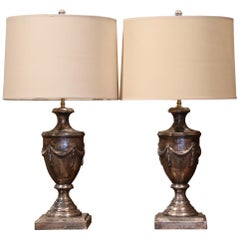 Large Pair of Italian Carved and Silver Leaf Urn Shape Two-Light Table Lamps
