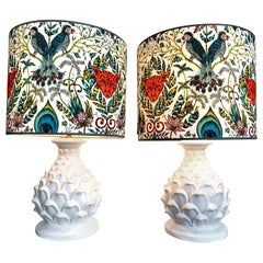 Large Pair of Italian Ceramic Artichoke Lamps with New Emma J Shipley Shades