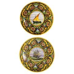 Large pair of Italian ceramic yellow plates Buoscaroli CAB Bologna, 1920s