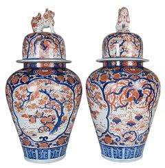 Large Pair of Japanese 19th Century Imar Lidded Vases
