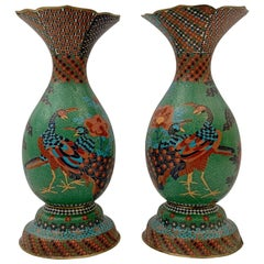 Large Pair of Japanese Cloisonne Peacock Vases Attributed to Kaji Tsunekichi