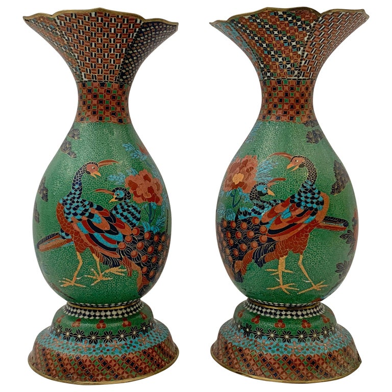 Large Pair of Japanese Cloisonne Peacock Vases Attributed to Kaji Tsunekichi For Sale