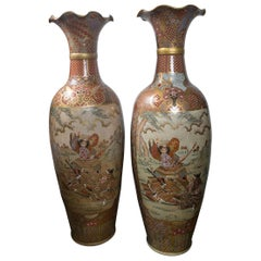 Large Pair of Japanese Floor or Palaces Vases