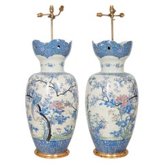 Large Pair of Japanese Fukagawa Porcelain Vases / Lamps, circa 1890