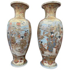 Large Pair of Japanese Satsuma Vases, 19th Century