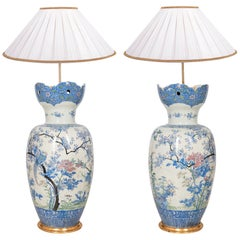 "Large Pair of Japanese Yokohama Porcelain Vases / Lamps, 90cm(35.5"") high"