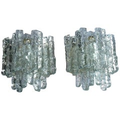 Large Pair of Kalmar Sconces Wall Lamps Textured Murano Ice Glass 1960 Brutalist