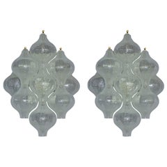 Large Pair of Kalmar Tulipan Wall Lights Sconces Murano Glass White Brass, 1960s