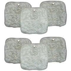 Large Pair of Kalmar White Pulegoso Ice Glass Chrome Brass Sconces Wall Lights