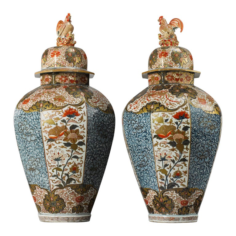 Large Pair of Late 17th Century Imari Vases with Cover For Sale