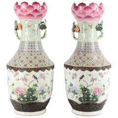 Large Pair of Late 19th Century Chinese Famille Rose Vases / Lamps