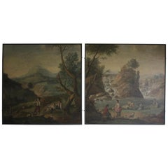 Large Pair of Late 19th Century French Painted Panels