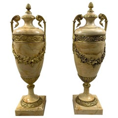 Large Pair of Late 19th Century Siena Marble Cassolettes with Brass Mounts