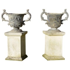 Large Pair of Lead Urns