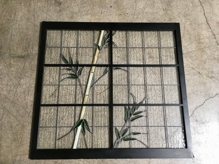 Large Pair of Leaded Glass Windows For Sale 5