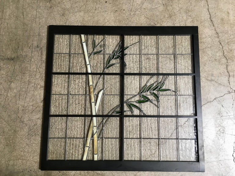 Large Pair of Leaded Glass Windows For Sale 6