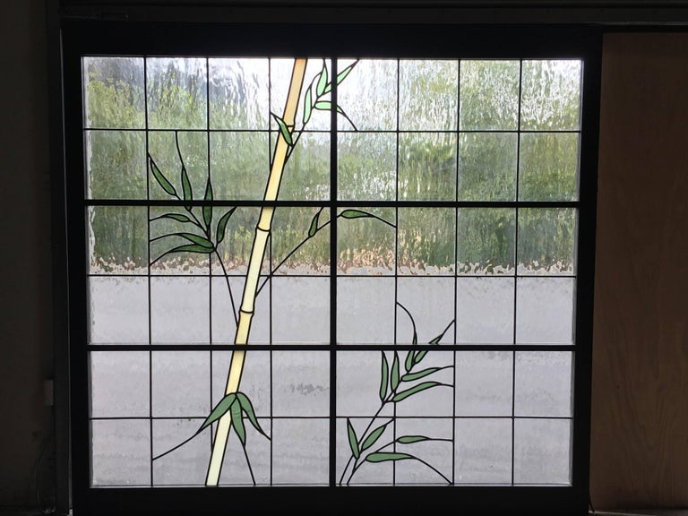 Organic Modern Large Pair of Leaded Glass Windows For Sale