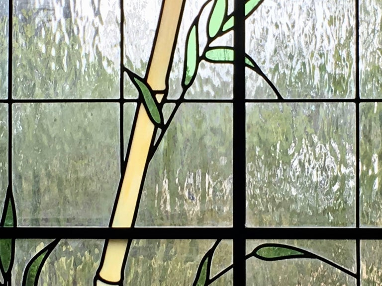 Large Pair of Leaded Glass Windows In Excellent Condition For Sale In Laguna Hills, CA