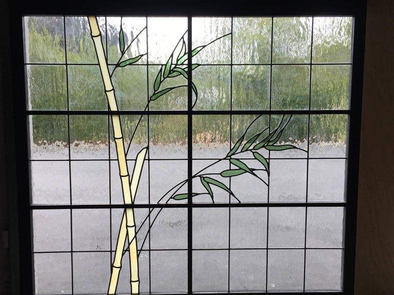 Large Pair of Leaded Glass Windows For Sale 1