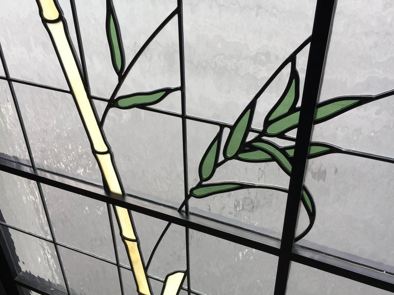 Large Pair of Leaded Glass Windows For Sale 2