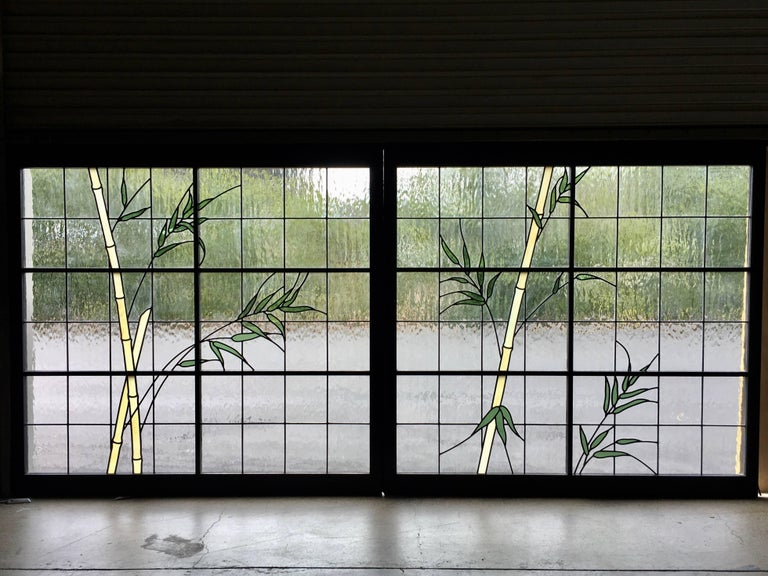 Large Pair of Leaded Glass Windows For Sale 4