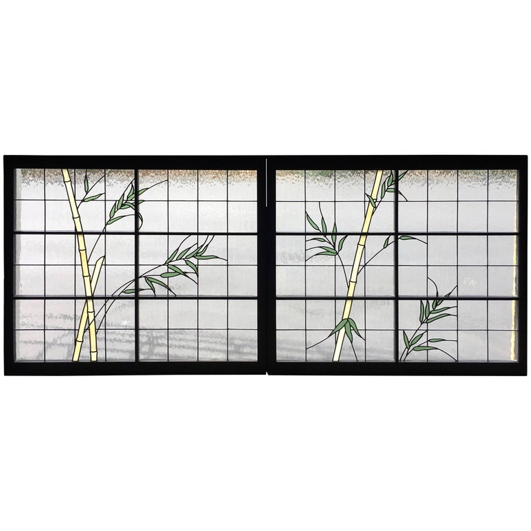 Large Pair of Leaded Glass Windows For Sale