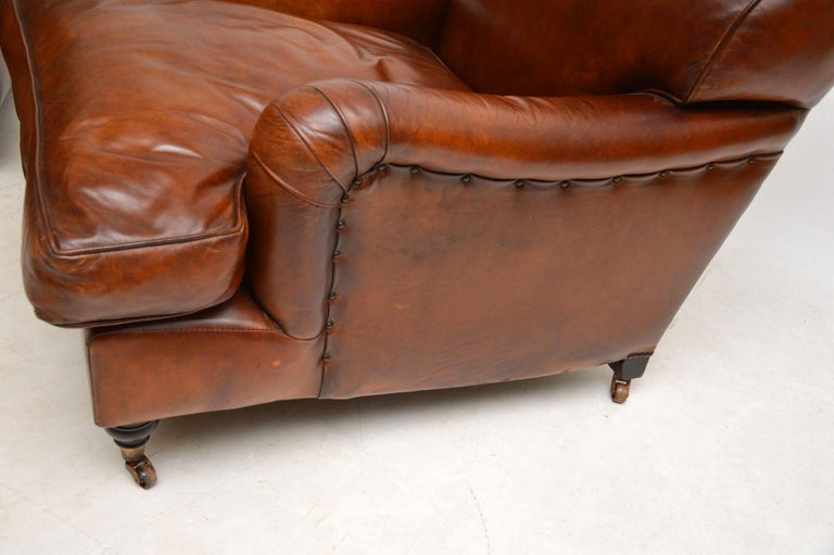 Large Pair of Leather Antique 'Howard' Style Armchairs For Sale 4