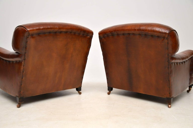 Large Pair of Leather Antique 'Howard' Style Armchairs For Sale 6