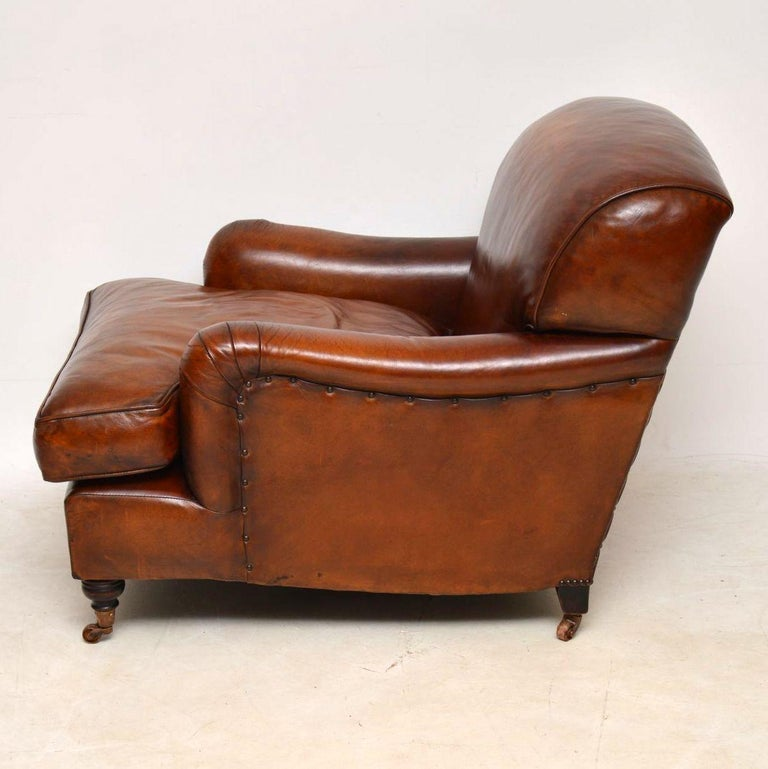 English Large Pair of Leather Antique 'Howard' Style Armchairs For Sale