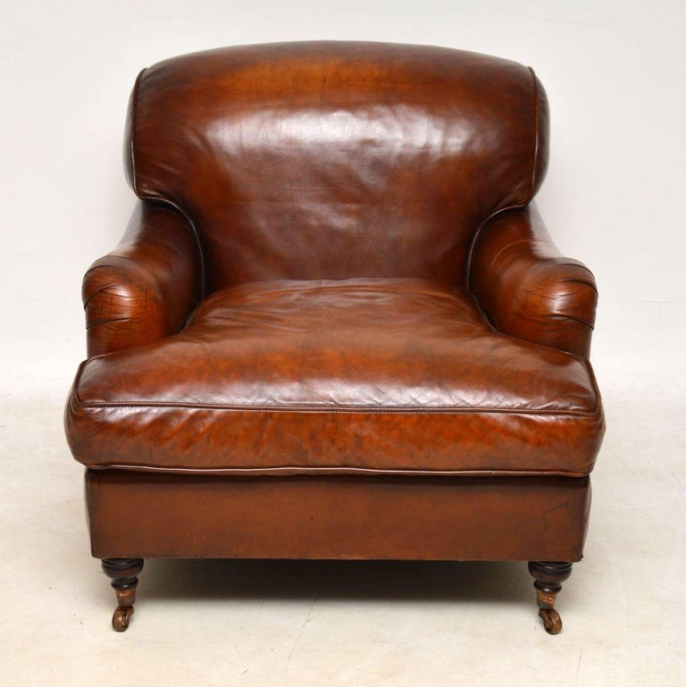 Large Pair of Leather Antique 'Howard' Style Armchairs In Good Condition For Sale In London, GB