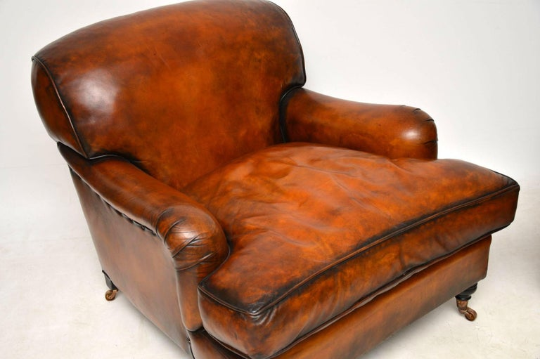 Large Pair of Leather Antique 'Howard' Style Armchairs at ...