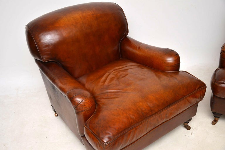 Late 20th Century Large Pair of Leather Antique 'Howard' Style Armchairs For Sale