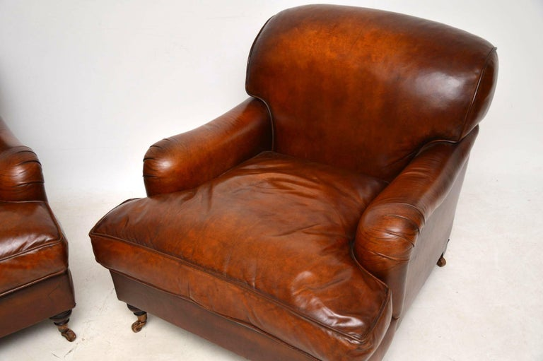 Large Pair of Leather Antique 'Howard' Style Armchairs For Sale 1