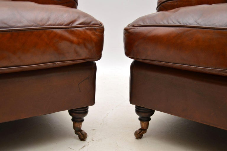 Large Pair of Leather Antique 'Howard' Style Armchairs For Sale 2