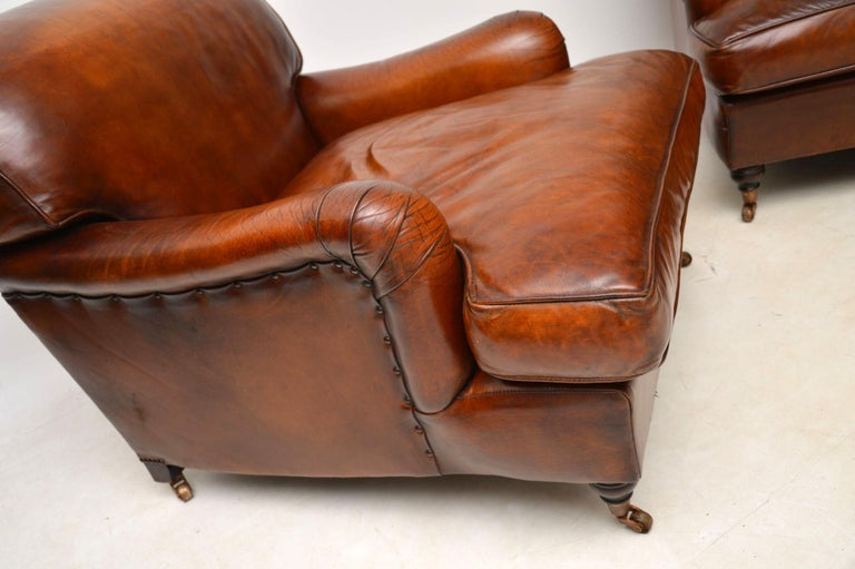Large Pair of Leather Antique 'Howard' Style Armchairs For Sale 3