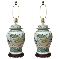 Large Pair of Lidded Urns as Table Lamps