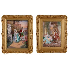 Large Pair of Limoges Enamel Plaques in Giltwood Frames