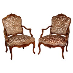 Large Pair of Louis XV Period Carved Walnut Armchairs