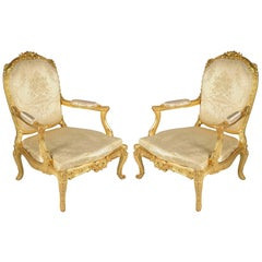 Large Pair of Louis XVI Style Carved Giltwood Salon Chairs, 19th Century