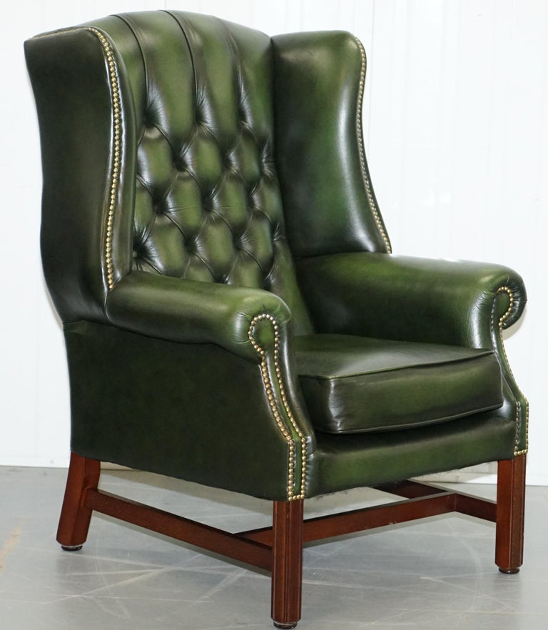 Large Pair of Luxury Green Leather Chesterfield Wingback ...
