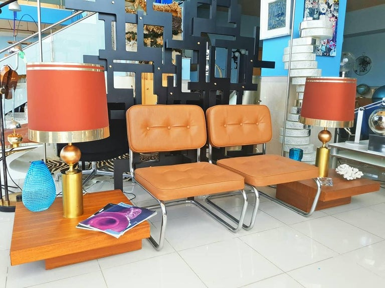 Beautiful and rare pair of large Lyma table lamps manufactured in Spain in the 1970s. Very nice original lampshades. In very good vintage condition.