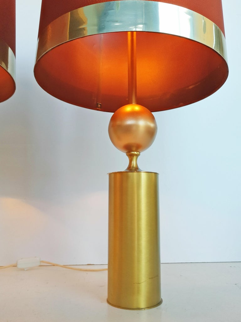 Brass Large Pair of Lyma Table Lamps, Spain, 1970 For Sale
