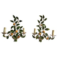 Large Pair of Maison Honore Lemon and Leaves Sconces