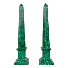 Large Pair of Malachite Obelisks