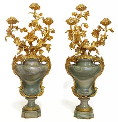 Large Pair of Marble Mounted Bronze Vases, Maison Millet in Paris