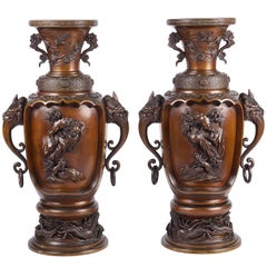 Large Pair of  Meiji Period Bronze Vases, Signed; Tounsai, 東雲斎