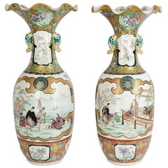 Large Pair of Meiji Period Satsuma Vases