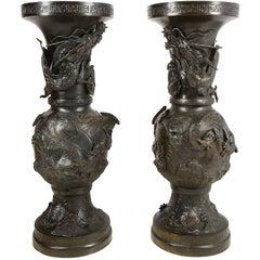 Large Pair of Meiji Perod Japanese Bronze Vases