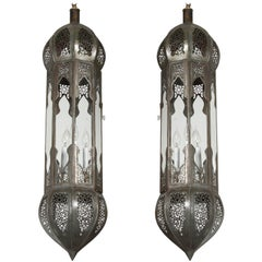 Large Pair of Metal and Clear Glass Moorish Moroccan Lanterns Light Pendants