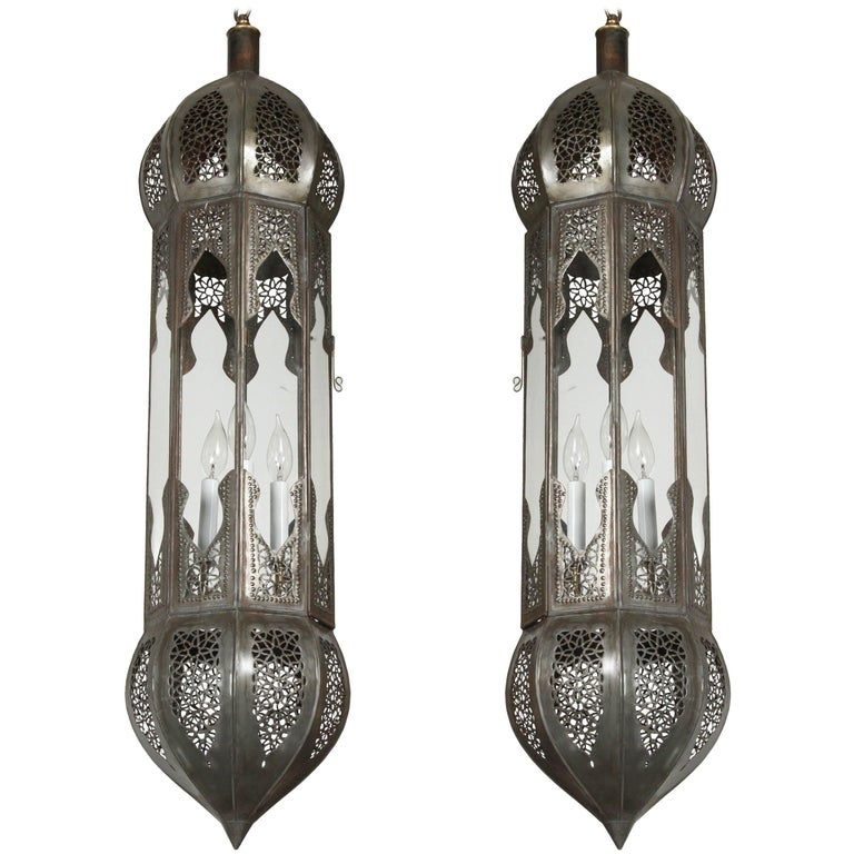 Large Pair of Metal and Clear Glass Moorish Moroccan Light Pendants